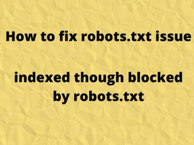 How to fix robots.txt issue