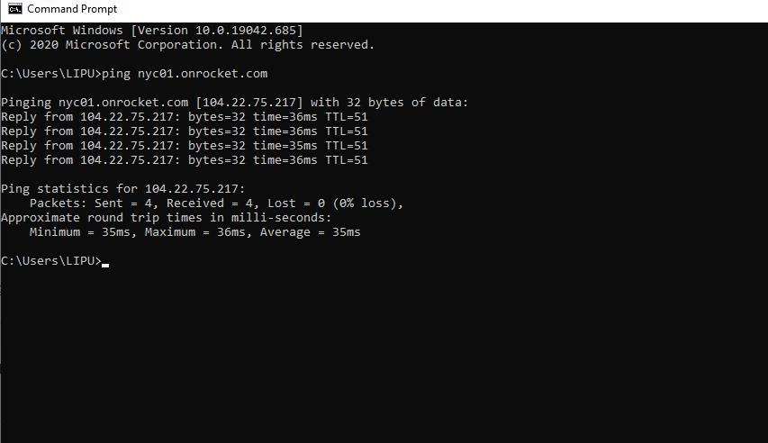 Rocket.net CMD testing